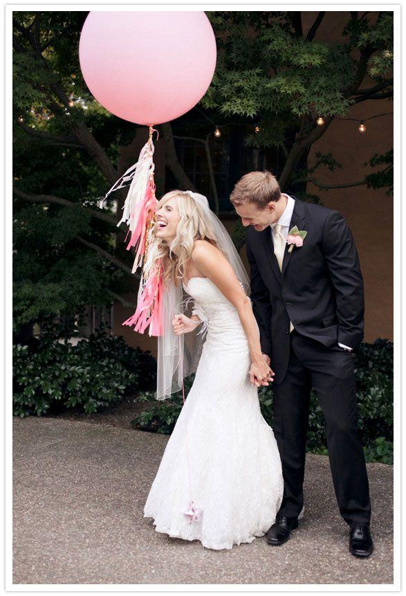a huge pink balloon!