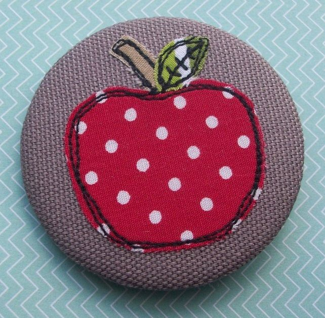 'An Apple for the Teacher' Textile Artwork - Badge, Keyring, Fridge Magnet etc £3.00