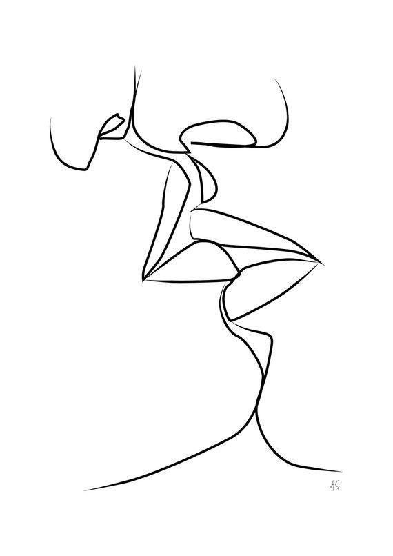 Two People Kissing, Woman, Man, Couple Touching Lips, Love, Minimal, One Line Art, Black And White, Valentine's Day – Kim Rakau