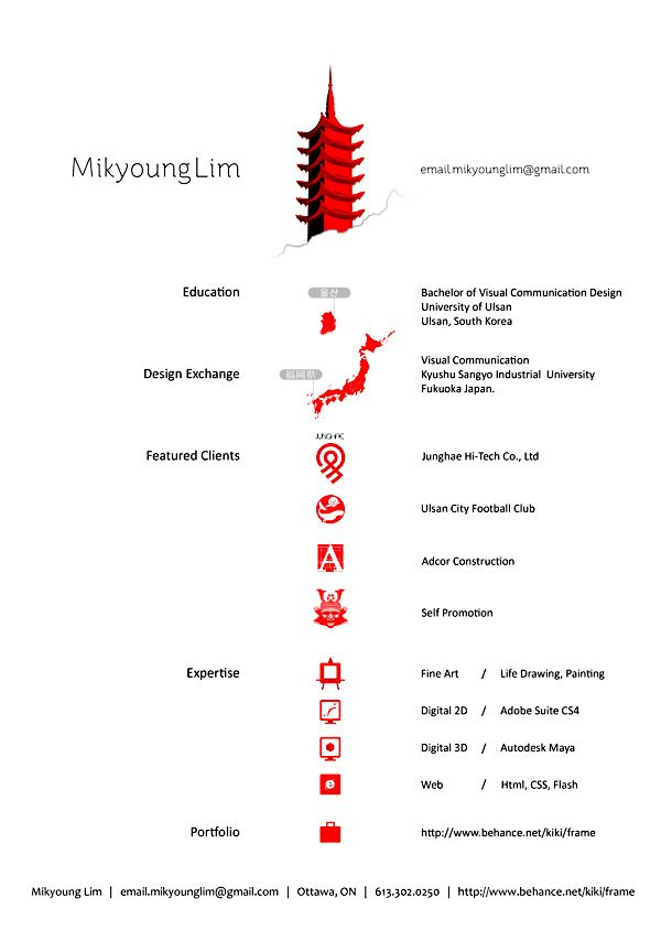 Design Resume by Mikyoung Lim, via Behance