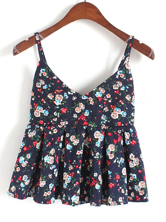 Navy Spaghetti Strap Florals Pleated Cami Top