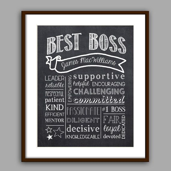 Boss Gift Best Boss Chalkboard Printable Boss by PrincessSnap
