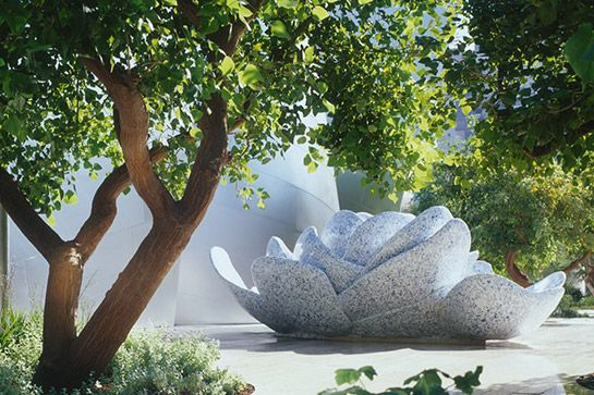 The Blue Ribbon Garden at Walt Disney Concert Hall%0AThe Frank Gehry-designed Walt Disney Concert Hall is one of L.A.'s most stunning architectural gems. But, it's not all stainless steel. The Blue Ribbon Garden is a public park that's tucked away on the venue's rooftop. Complete with nearly an acre of greenery and a stunning mosaic fountain, the hidden sanctuary is a peaceful hideaway — and the perfect spot for getting a good view of the San Gabriel Mountains.Walt Disney Concert Hall, 111…