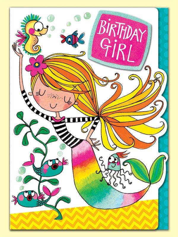 Mermaid Birthday Girl Greeting Card By Rachel Ellen