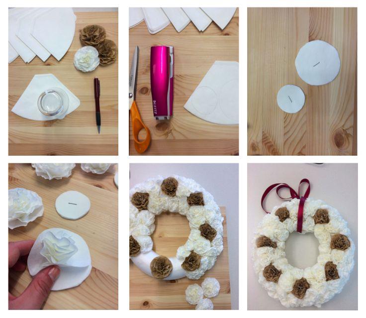 Tee itse valkoinen joulukranssi Katso ohje:   http://www.eskimofinland.fi/vinkit-ja-videot/9319-2/?group=0