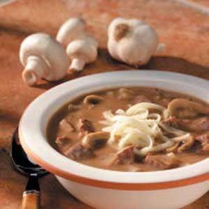 Beefy Mushroom Soup - 1cp= 151 cal, 6 ft (3sf), 11 carbs, 1 fiber, 14 protein