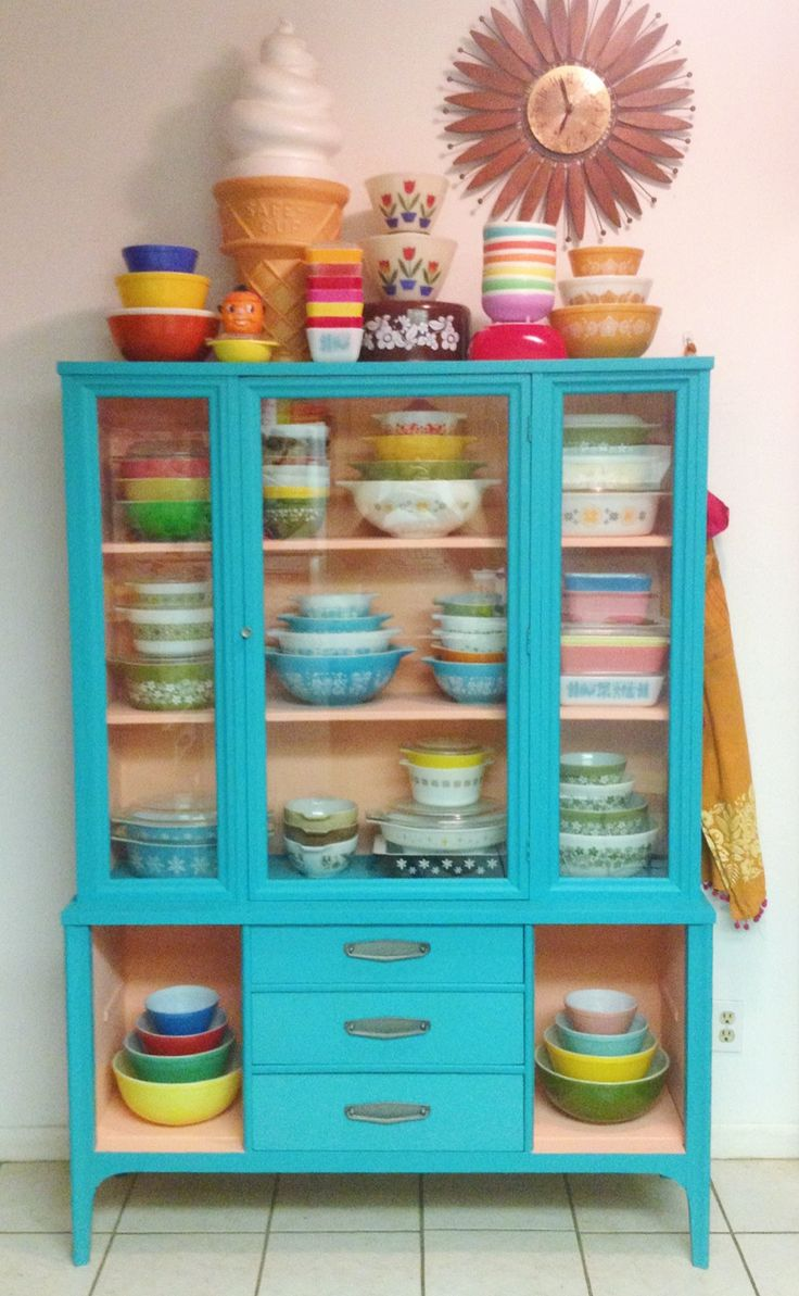 Turquoise painted vintage hutch with Pyrex