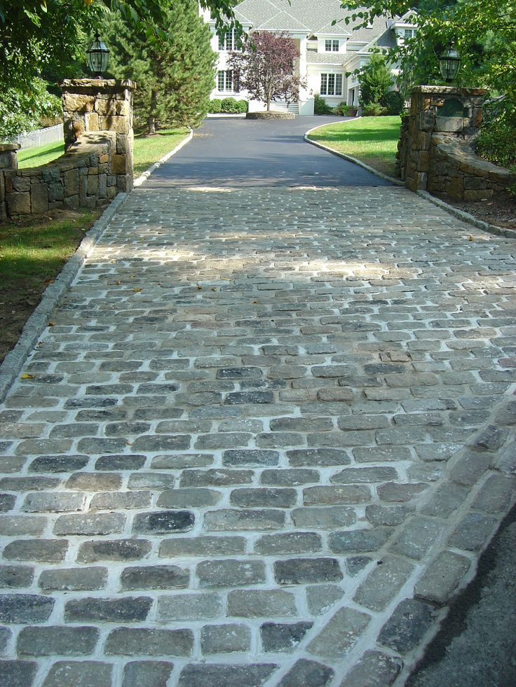 Cobblestone Driveway Apron & Paving.  Recycled cobblestones from NYC streets.