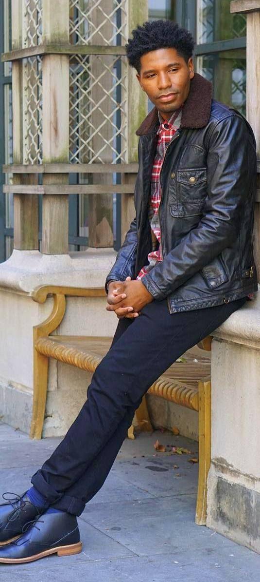 stylesocietyguy.tumblrLeather Shearling + Red Flannel + Black Denim + Black Chukka Boots