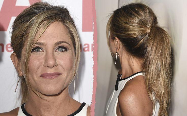 BEST PONYTAILS: IN THE MIDDLE Kan je niet kiezen tussen hoog of laag? Er is altijd een gulden middenweg, dacht Jennifer Aniston.