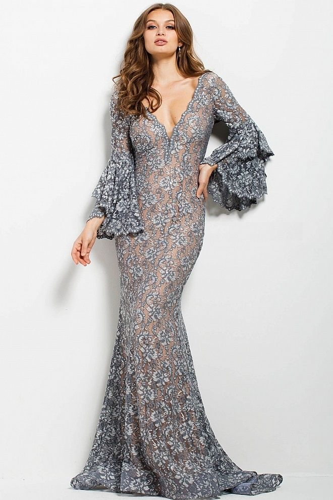 a997725409 JOVANI SILVER LACE PLUNGING NECKLINE EVENING DRESS.  jovani  cloth ...