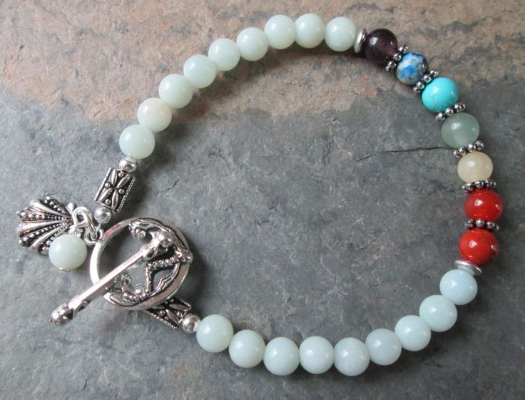 Reserved Listing for Annie ~ 7 Chakra Bracelet with Amazonite by PumpkinHollowCreatns on Etsy