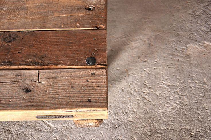 Interior design recupero vecchie pedane con piano in legno e gambe e ferro dimensione: 98 x 98 x h 27 SESTINI E CORTI