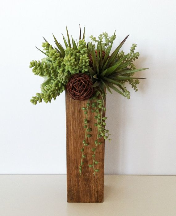 Modern Succulent Arrangement in Brown Wood by ArtsFloralDesign, $44.00: