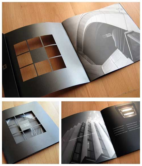 printed brochure design -black with die cutting