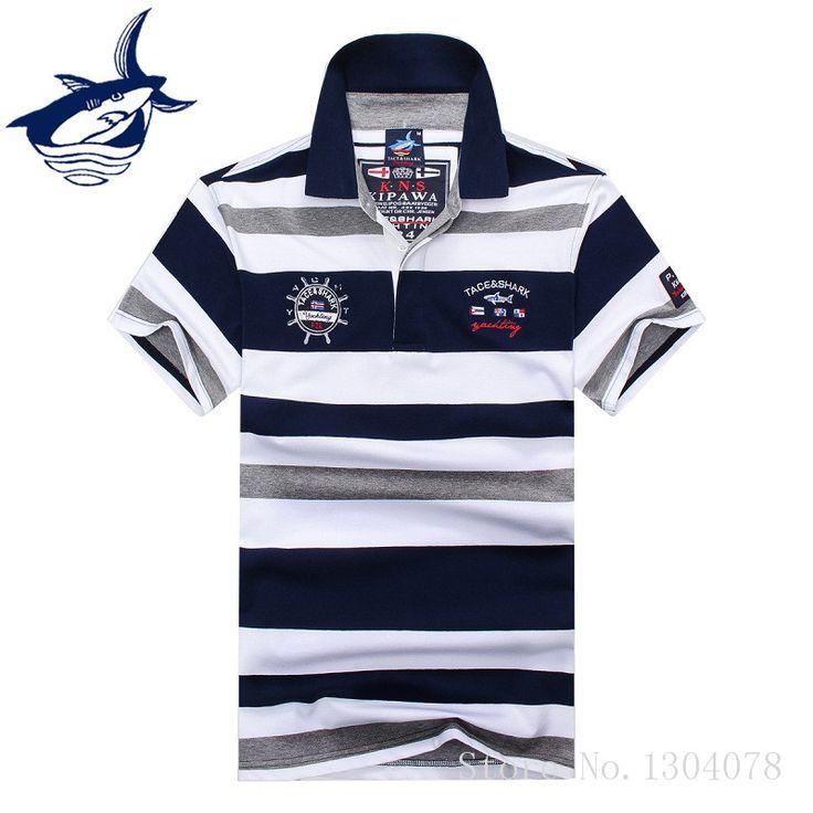 2017 высокое качество Топы И Футболки мужские tace рубашки поло акулы модные стильные летние полосатые АКУЛА Марка поло с короткими рукавами рубашка мужская