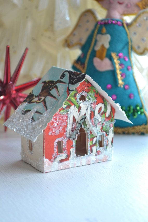 Glitter House made from old christmas cards | things I want to try ...