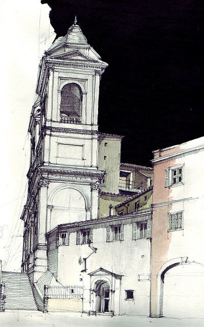 Become an Ambassador of #buildyful.com to represent your #Architecture School in the world! See more details here: buff.ly/1xRomMd ~~Piazza di Spagna, pencil drawing with water colour and chinese ink