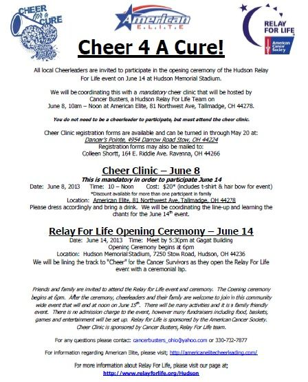 Please register for our Cheer Clinic by May 20th. Clinic from 10am-noon on June 8th. Then join us at Hudson Relay for Life to CHEER on our survivors and caregivers!