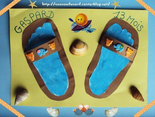 Claquettes empreintes de pied
