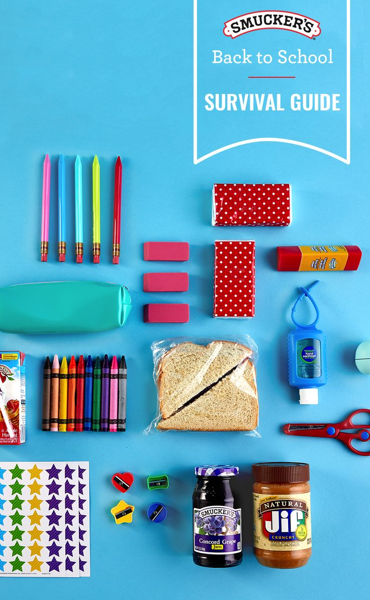 Get your kids back into the swing of things with our back-to-school survival kit. Laid out are the essentials from the moment they walk into the classroom until the moment they arrive home to do their homework. We've got you covered from a PB&J sandwich and juice box for lunch to all of  the things they need in their pencil case. Whether it's creamy or crunchy, choose their favorite Jif peanut butter when preparing a delicious homemade PB&J.