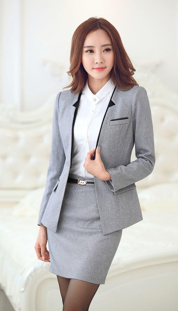 New 2015 Autumn Winter Female Formal Gray Blazers Women Outerwear Jackets Slim Ladies Work Wear Office Uniform Style OL