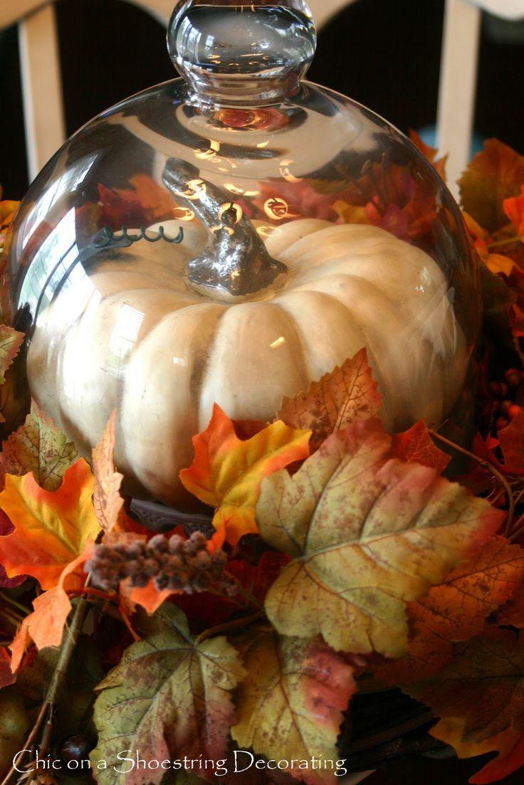 Fall centerpiece cloche under the glass dome