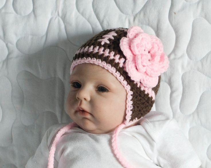 BABY GIRL FOOTBALL, Crochet Football Baby Beanie, Pink Football Baby Hat…