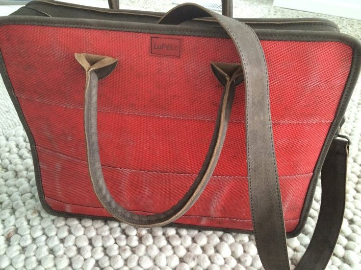 Big laptopbag, made of used firehose and leather
