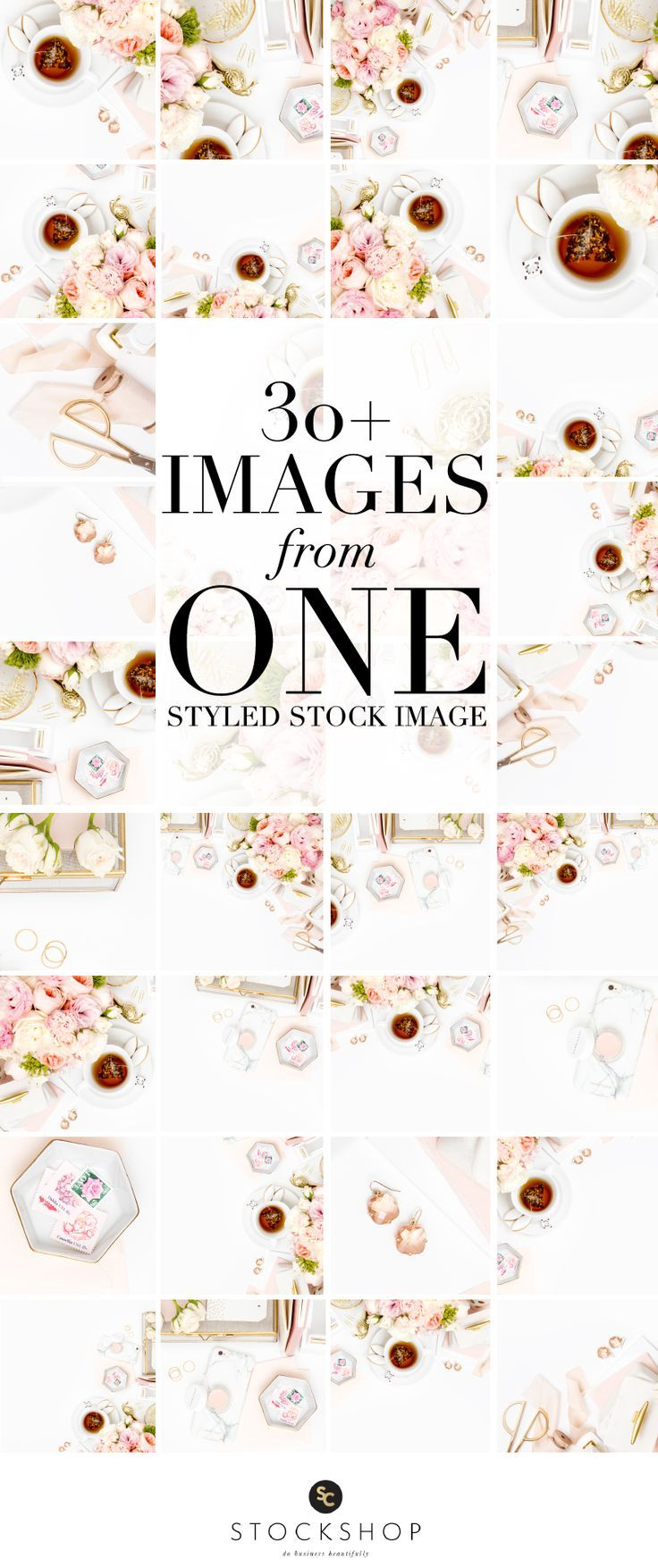 Learn how to use styled stock photography!  Create 30+ Instagram images from a single styled stock image!  Blush pink and gold desktop image collection.