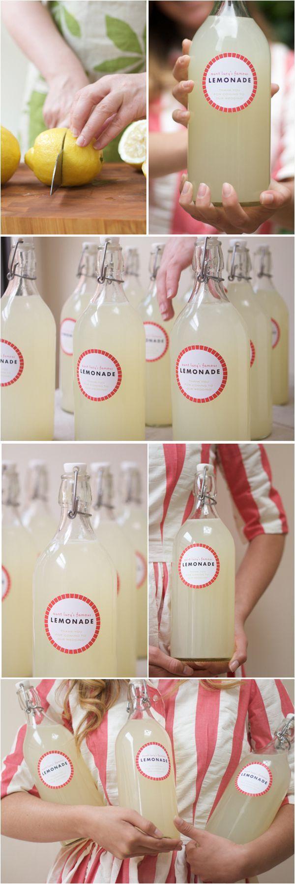Great for a backyard summer wedding favor - Lemonade bottles! 35 Cute And Easy-To-Make Wedding Favor Ideas