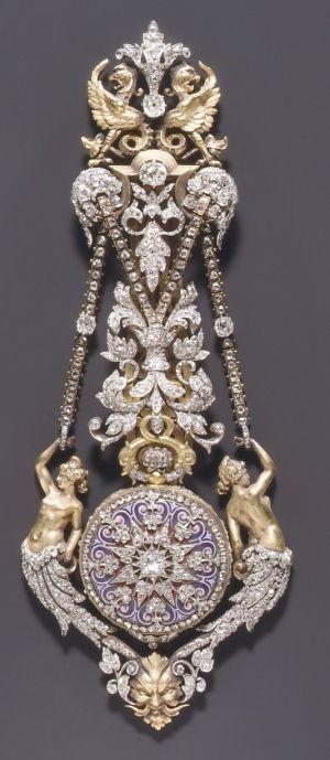 ~ Watch & Chatelaine...by Hippolyte Téterger, French (Paris), ca. 1870-78. Gold, platinum, & diamonds