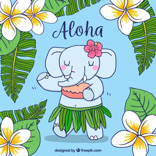 Hand drawn hawaiian elephant background Free Vector