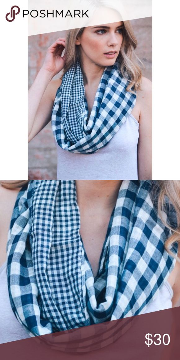 Plaid infinity scarf, navy blue and white Never used Accessories Scarves & Wraps