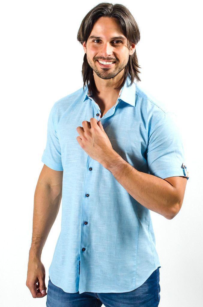 Short sleeve blue designer dress shirt via uomo conino for Aqua blue mens dress shirt