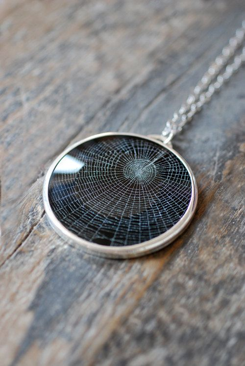 Dollybird Preserved Spider Web Pendant 2 inch. $265.00, via Etsy. - oh wow! This is awesome! Wish it wasn't so damn expensive!