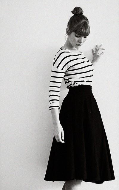 Stripes and black midi circle skirt...such a classic, classy & feminine look!