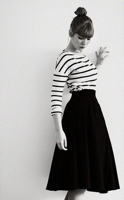 Stripes and black midi circle skirt...such a classic, classy & feminine look!