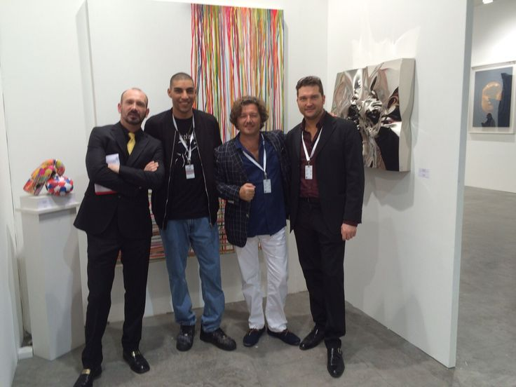 Dr. Diego Giolitti, artist Omar Hassan, sculptor Helidon Xhixha and Gallery Director Cristian Contini at Art Stage Singapore 2015.