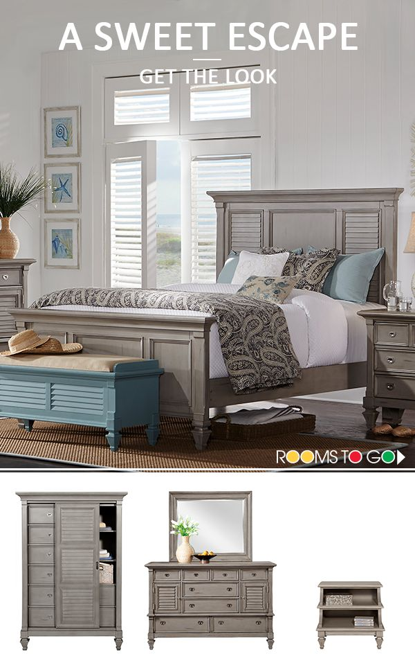 Escape at the end of the day with the cottage style Belmar bedroom. This delightful collection is crafted of hardwood solids and veneers with island-inspired shuttered panels. Brushed nickel finished hardware provides a compelling contrast to the rubbed gray finish. Shop now!