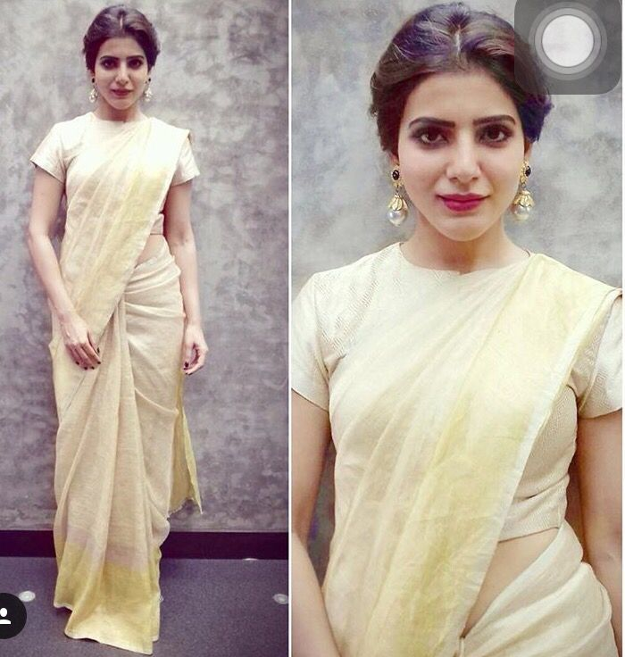 South Indian/Tamil/Telugu actress Samantha in a minimalistic saree look, statement earrings!