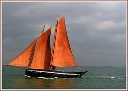 'Il y a huit jours par une belle journée ventée et ensoleillée j'ai croisée ce voilier appelé vieux gréement, il filait sur l'eau comme un bel oiseau. Ce vieux grément s'appel notre Dame de Becquerel, ayant son port d'attache au Bono entre Auray et Vannes en Morbihan.'