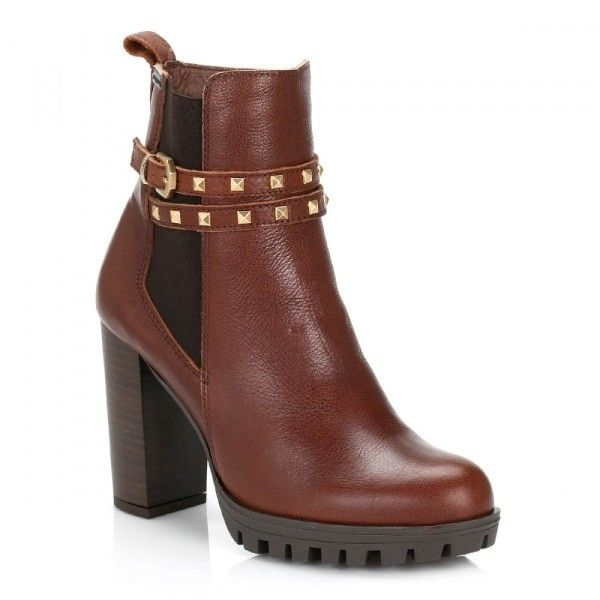 Womens Brown Central Park Leather Boots (1,520 MXN) ❤ liked on Polyvore featuring shoes, boots, formal shoes, leather boots, formal leather shoes, brown formal shoes and rubber sole boots