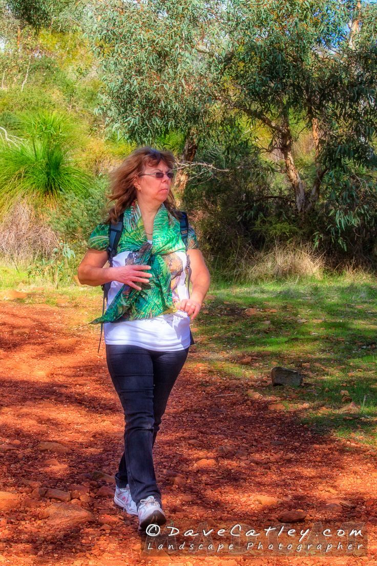 Maggie with her new rainforest scarf heading to the bottom of Lesmurdie Falls, Lesmurdie Falls National Park, Western Australia