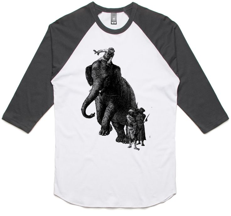 theIndie War Elephant (Black) 3/4-Sleeve Raglan Baseball T-Shirt