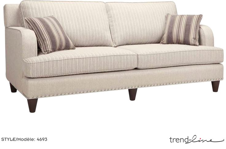 Shown in a grade 26 fabric, Aspen Stone, the studding is gorgeous along the straight line bottom. ($999)