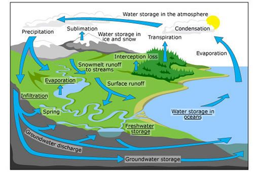 The time it takes for water to move through the Earth's system can vary greatly, but it means that water is continuously recycled, maintaining the conditions for life on Earth and producing weather around the world.