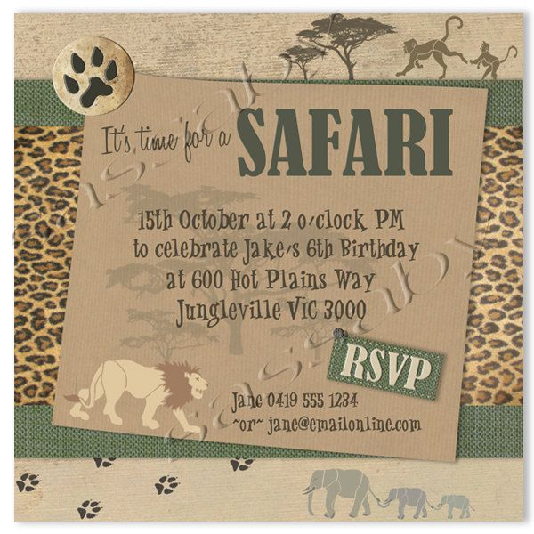 African Safari Birthday Party | Safari Party Invitation - Children's Birthday - DIY PRINTABLE FILE by ...