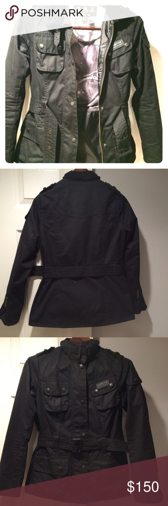 Barbour bomber jacket Heavy weight Barbour bomber jacket. Black with retro vintage liner inside. Belt gives a fitted look. USA size 4/UK size 8. Barbour Jackets & Coats