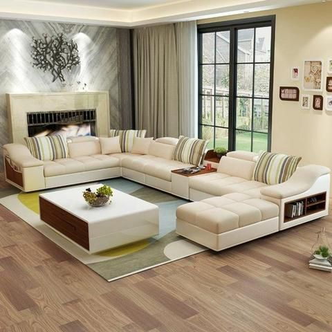 Luxury Modern U Shaped Leather Fabric Corner Sectional Sofa Set Design My A Modern Furniture Living Room Furniture Design Living Room Living Room Sofa Design